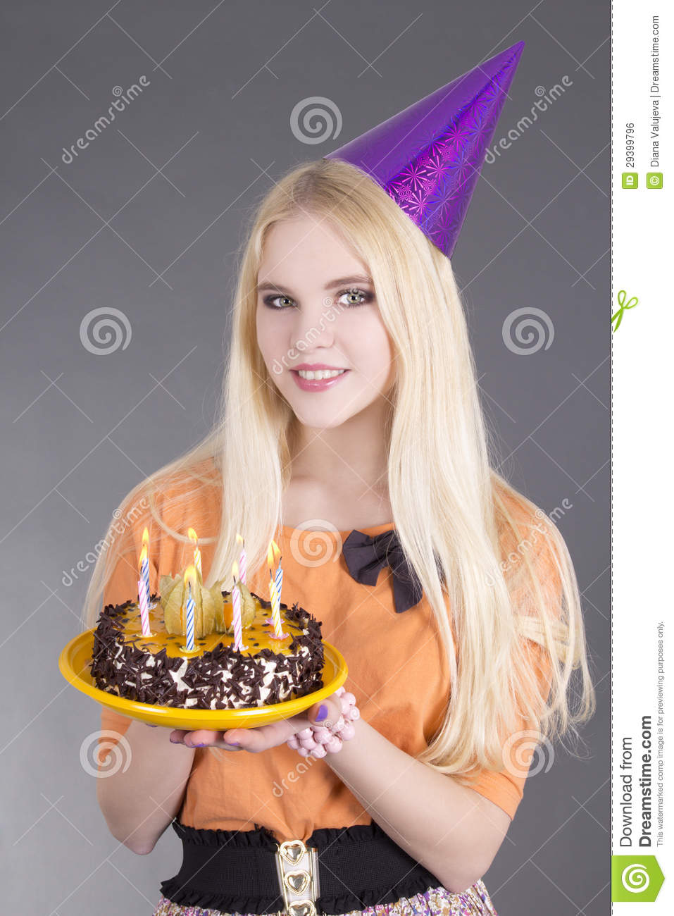 Teenage Girl With Birthday Cake Stock Photo Image Of