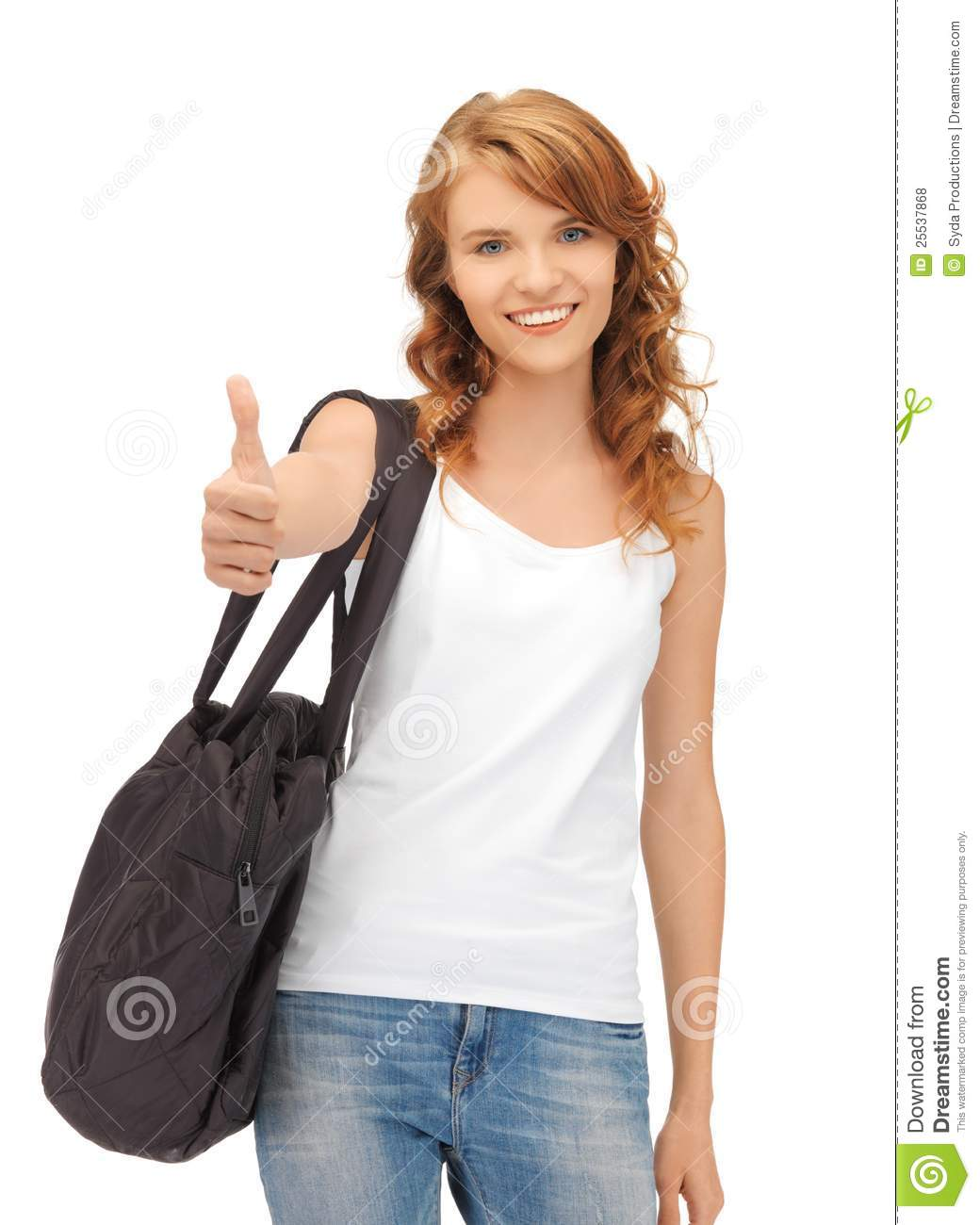 Teenage Girl In Blank White T-Shirt With Thumbs Up Stock -2607