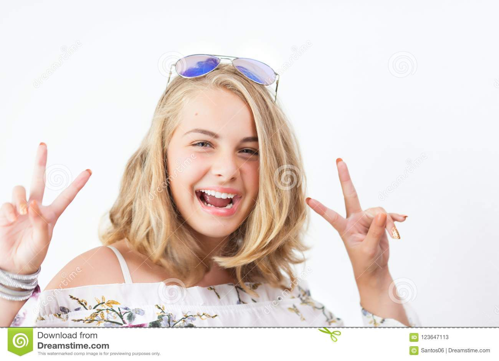 Teenage girl with glasses