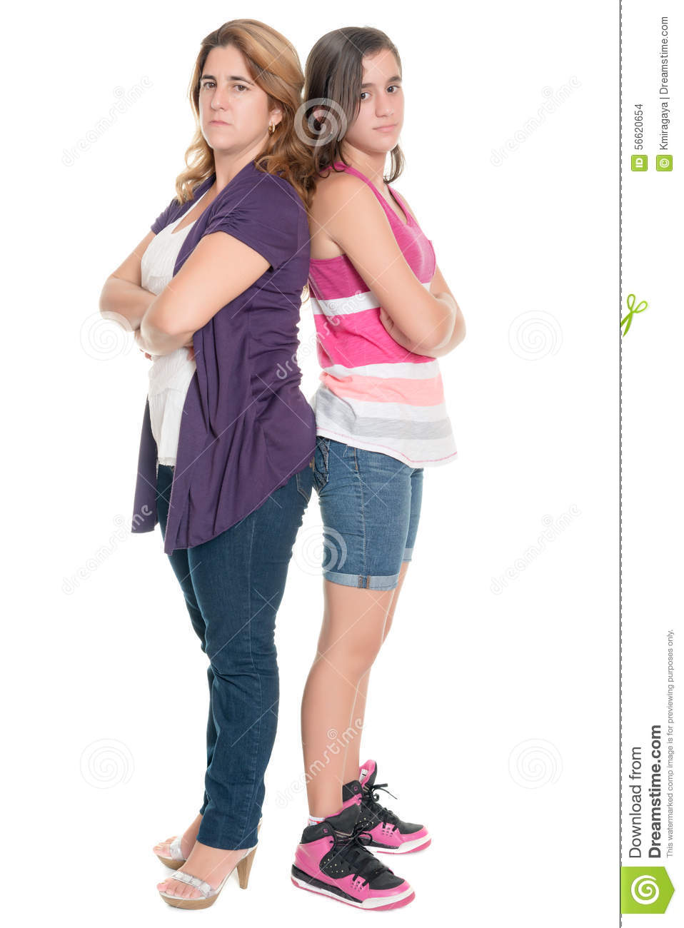Teenage girl and her mother angry at each other