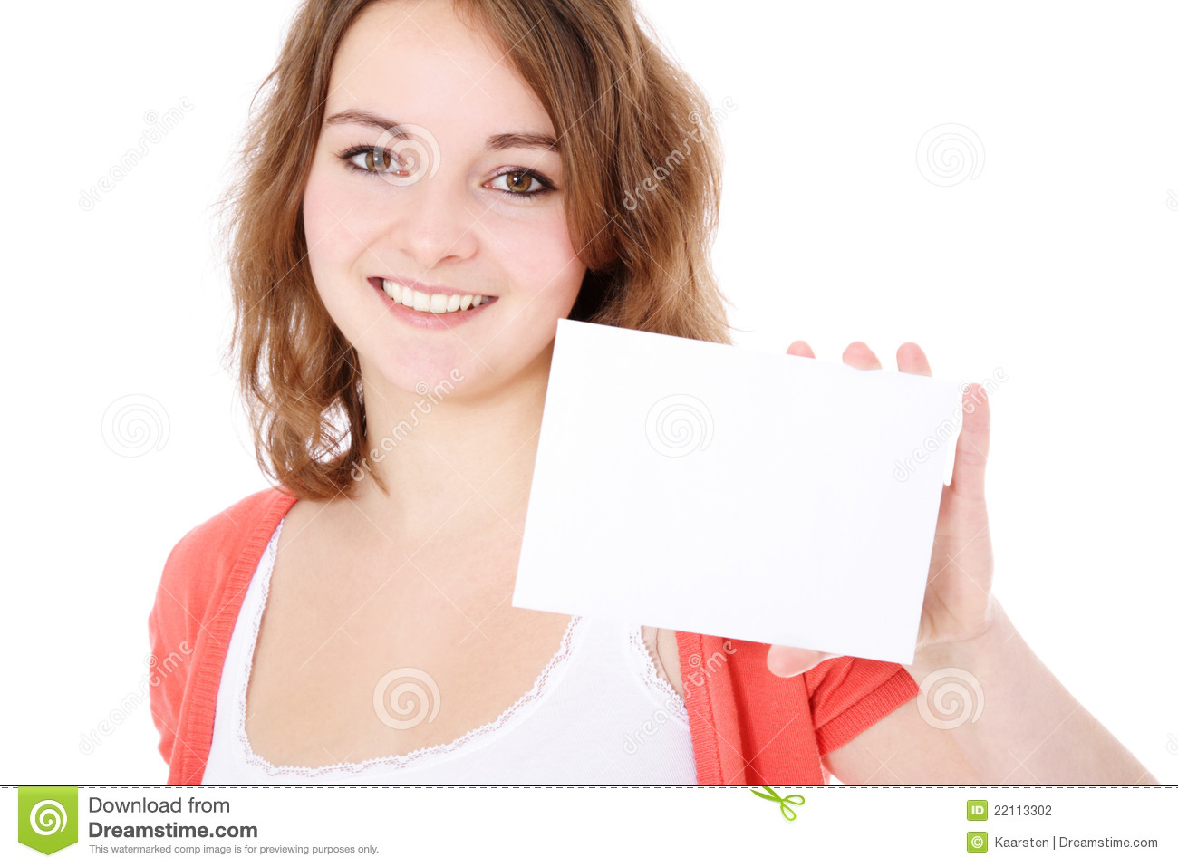 teenage girl holding blank white card stock photo image of space