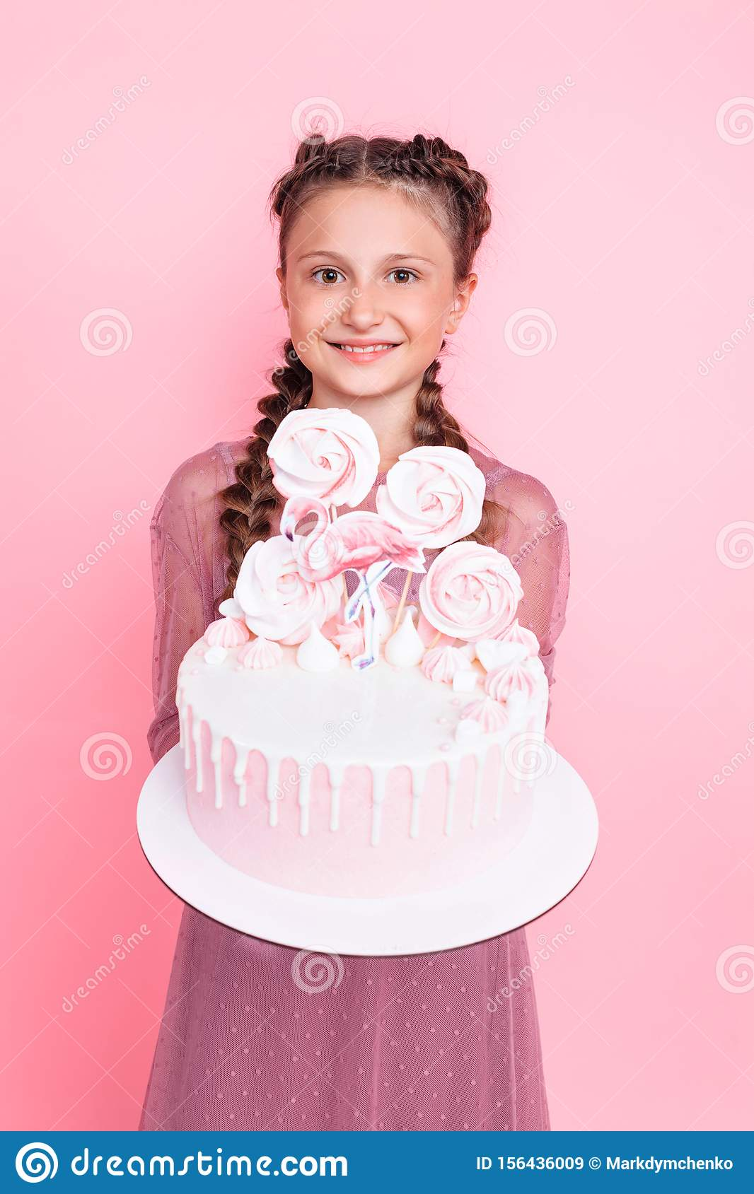 Enjoyable A Teenage Girl Holds A Designer Cake In Her Hands On A Pink Funny Birthday Cards Online Aeocydamsfinfo