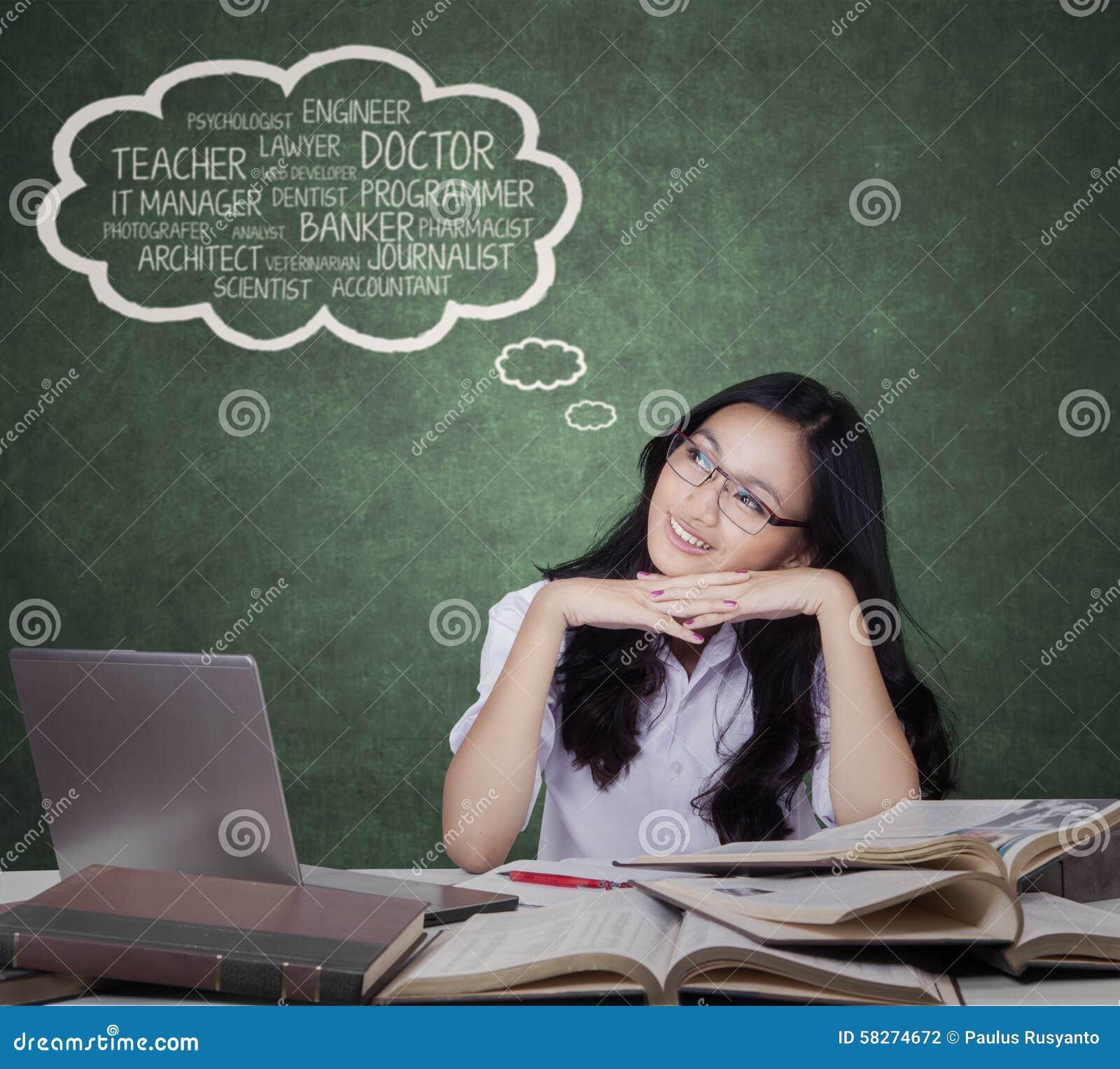 teenage girl imagine her future jobs stock photo image  teenage girl imagine her future jobs