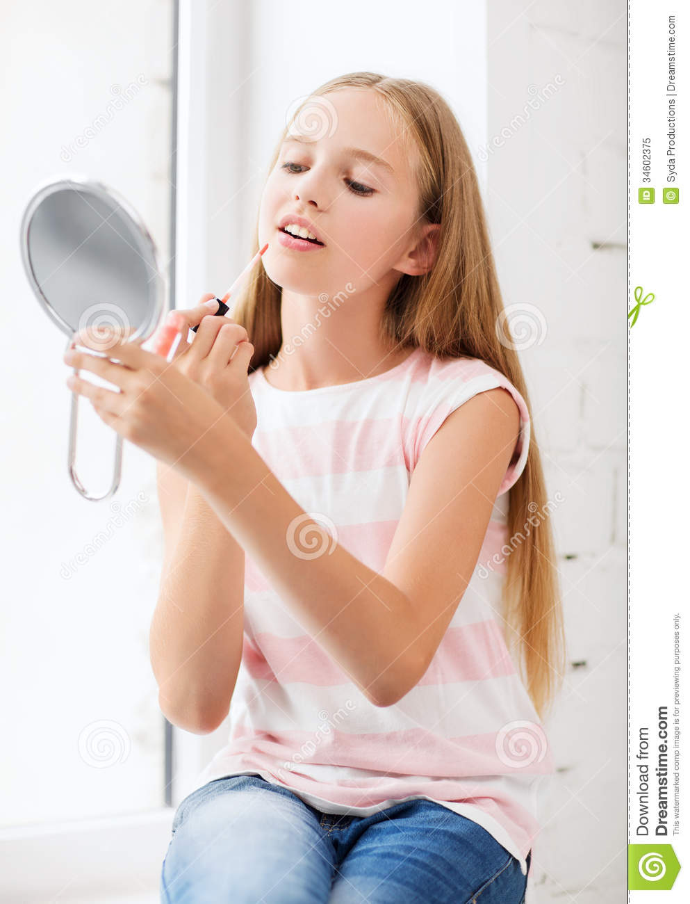 Https Www Dreamstime Com Royalty Free Stock Photo Teenage Girl Lip Gloss Mirror Adolescence Beauty Makeup Happy People Concept Image34602375