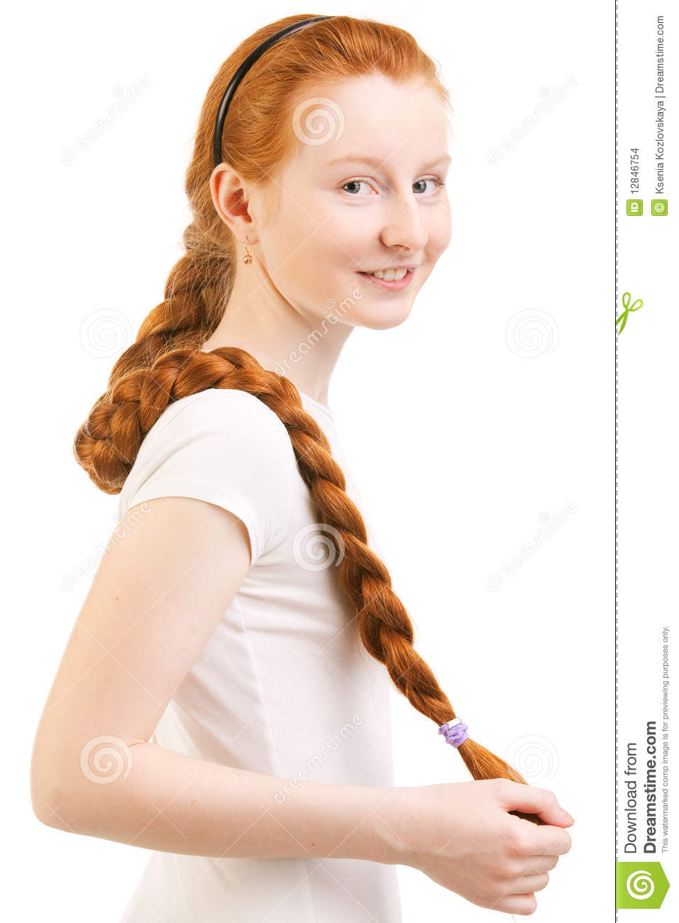Teenage Girl With Long Red Plait Stock Images