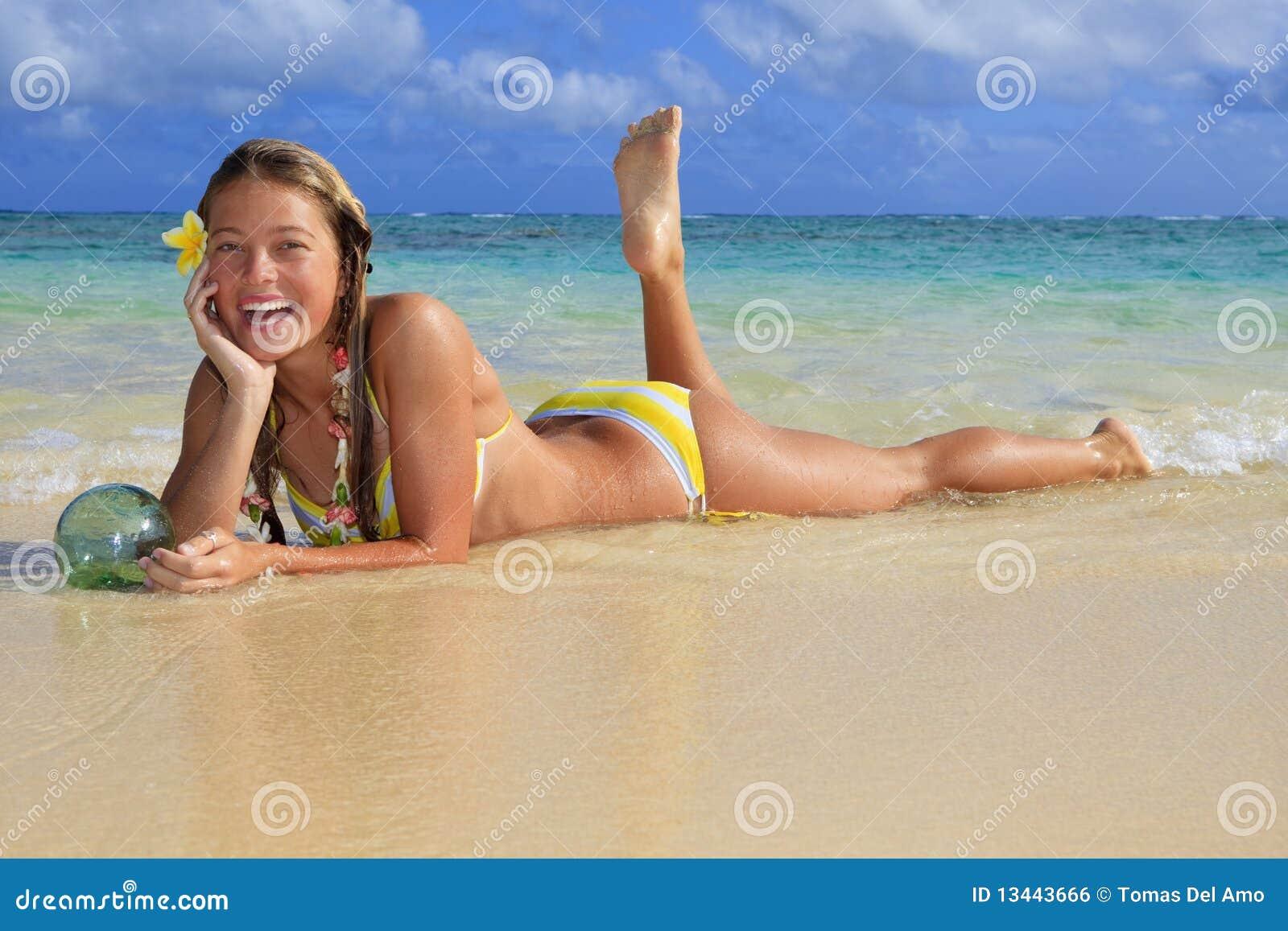 Royalty Free Stock Image: Teenage girl in the ocean in hawaii