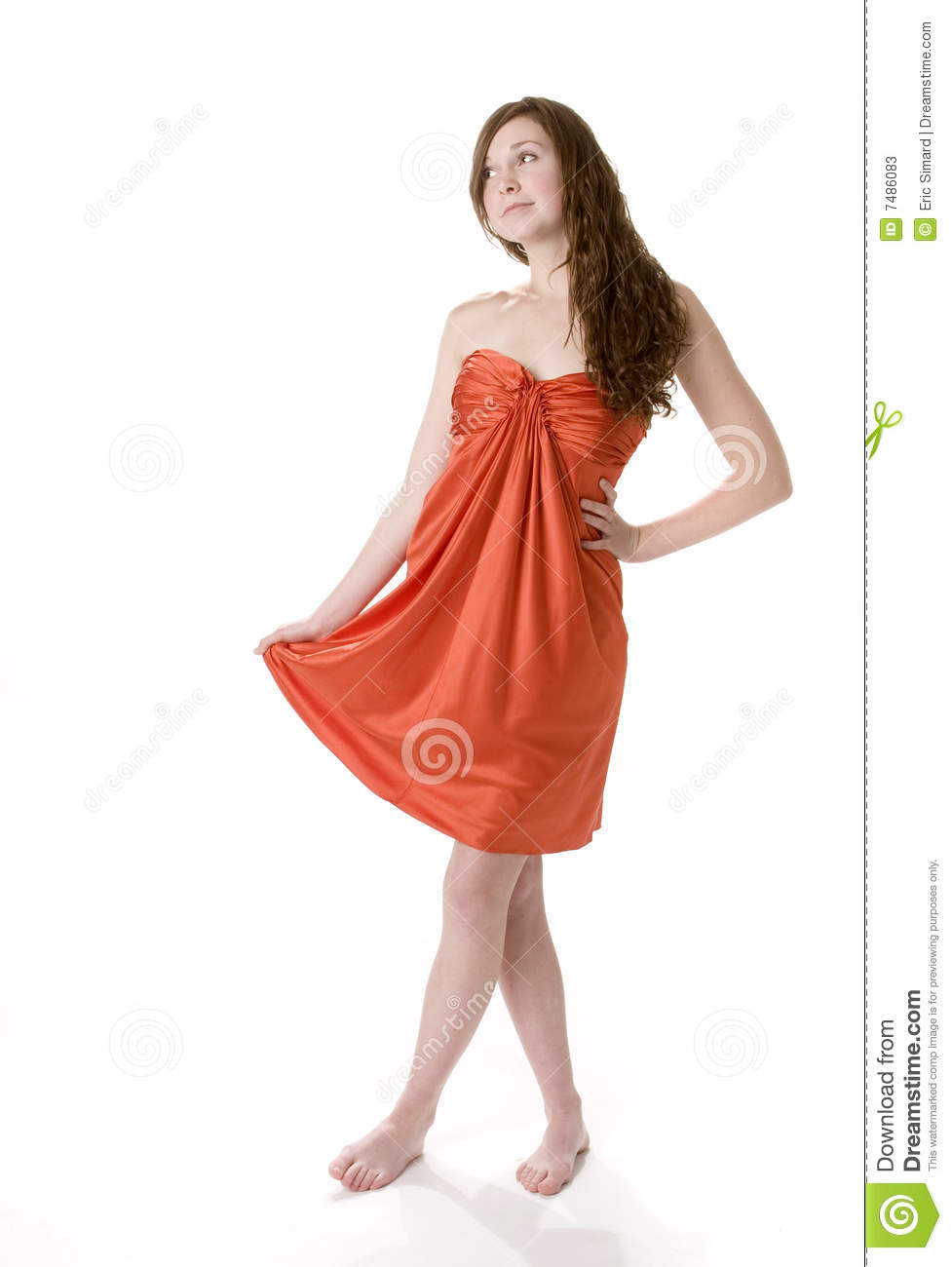 Teenage Girl In Orange Dress Stock Photos - Image: 7486083
