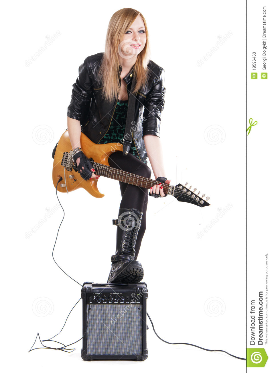 teenage girl playing electric guitar stock photos image 18596463. Black Bedroom Furniture Sets. Home Design Ideas