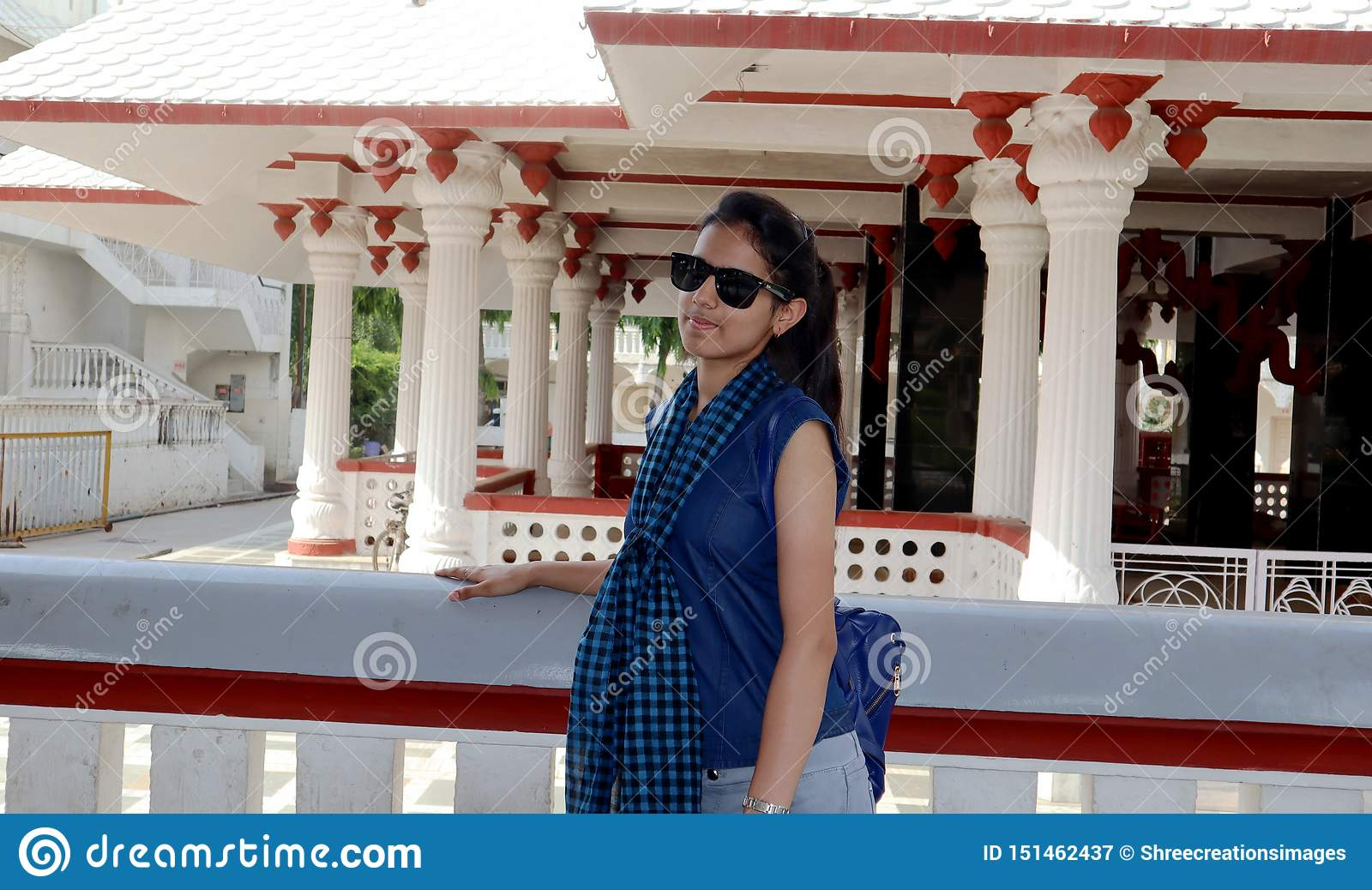 Teenage Girl Portrait Enjoying Summer Holiday In Delhi Temple In India Stock Image Image Of Cool Mobile 151462437