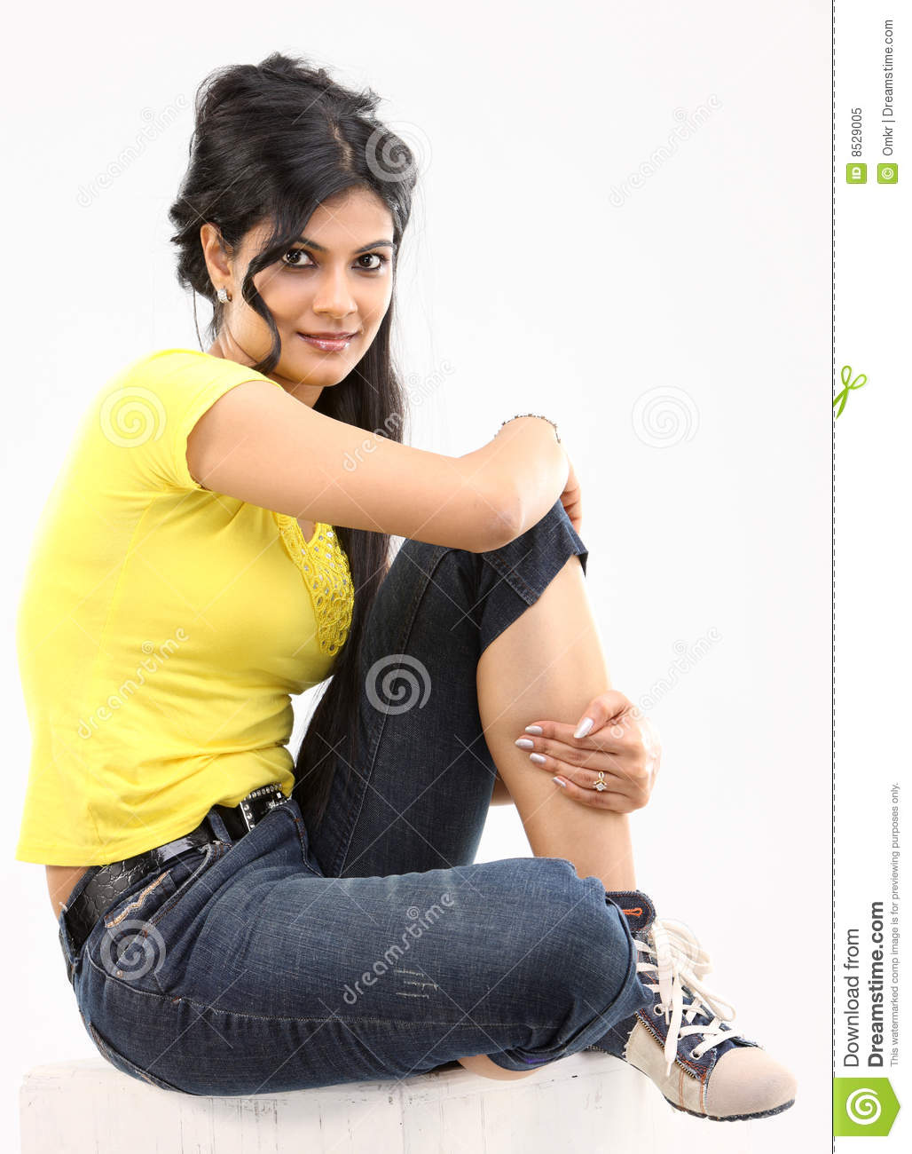 Relaxing Colours Teenage Girl Posing Sitting On The Floor Royalty Free