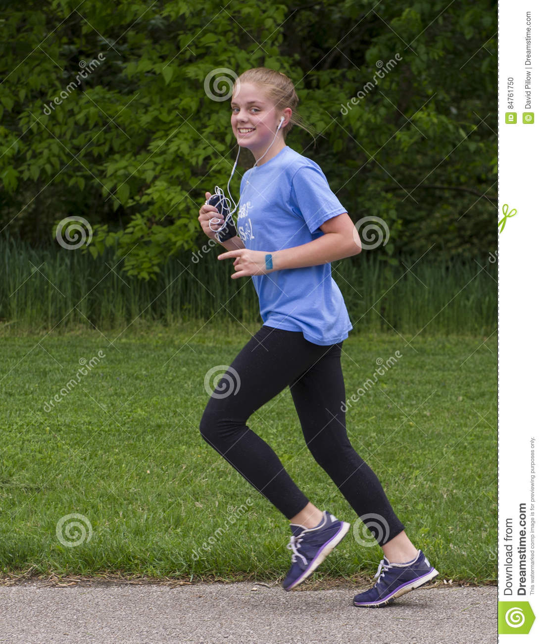 Teenage girl running