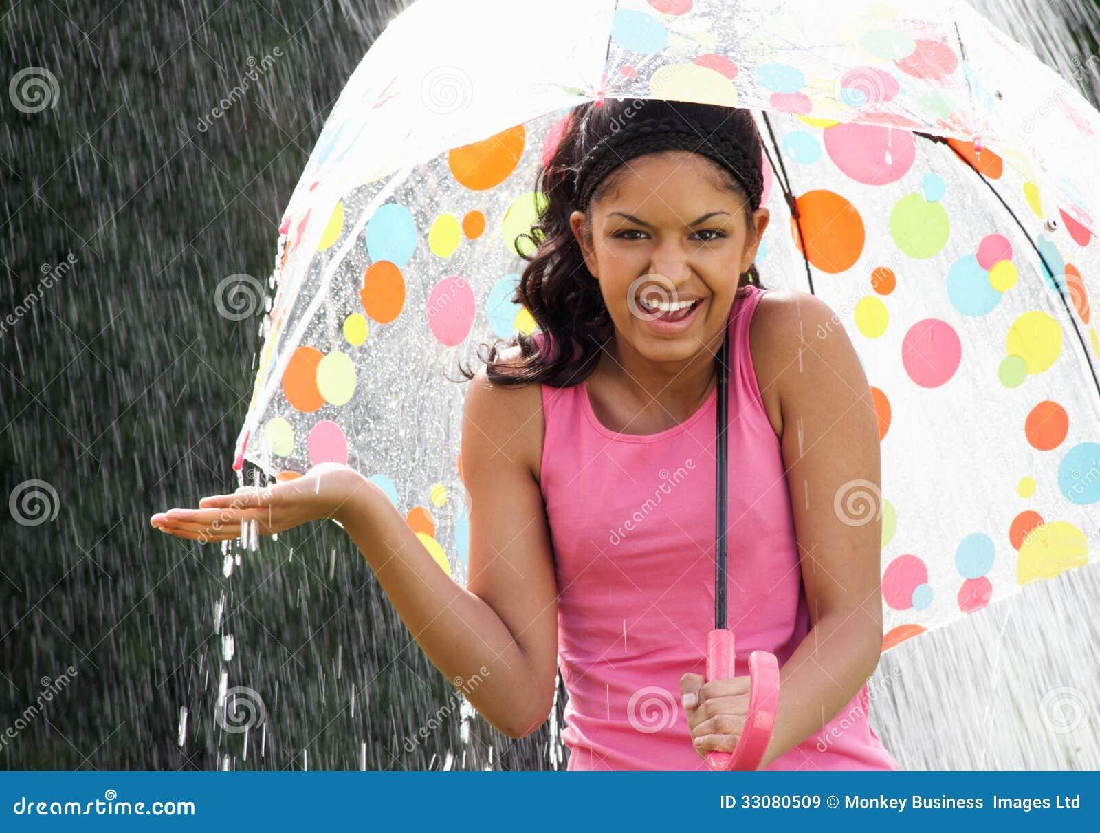 Teenage Girl Sheltering From Rain Beneath Umbrella Royalty