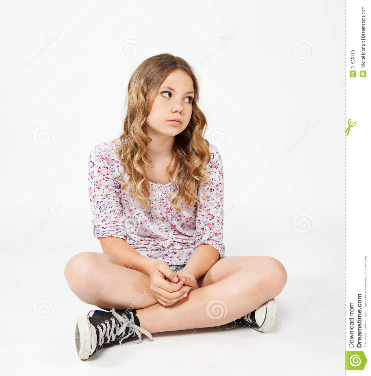 Gallery Floor Plans Teenage Girl Sitting On The Floor With Sad Face Stock
