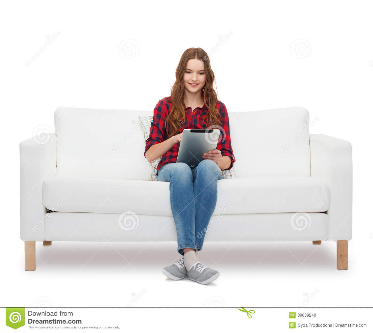 teenage girl sitting on sofa with tablet pc stock photo image of reading cheerful 39639240. Black Bedroom Furniture Sets. Home Design Ideas