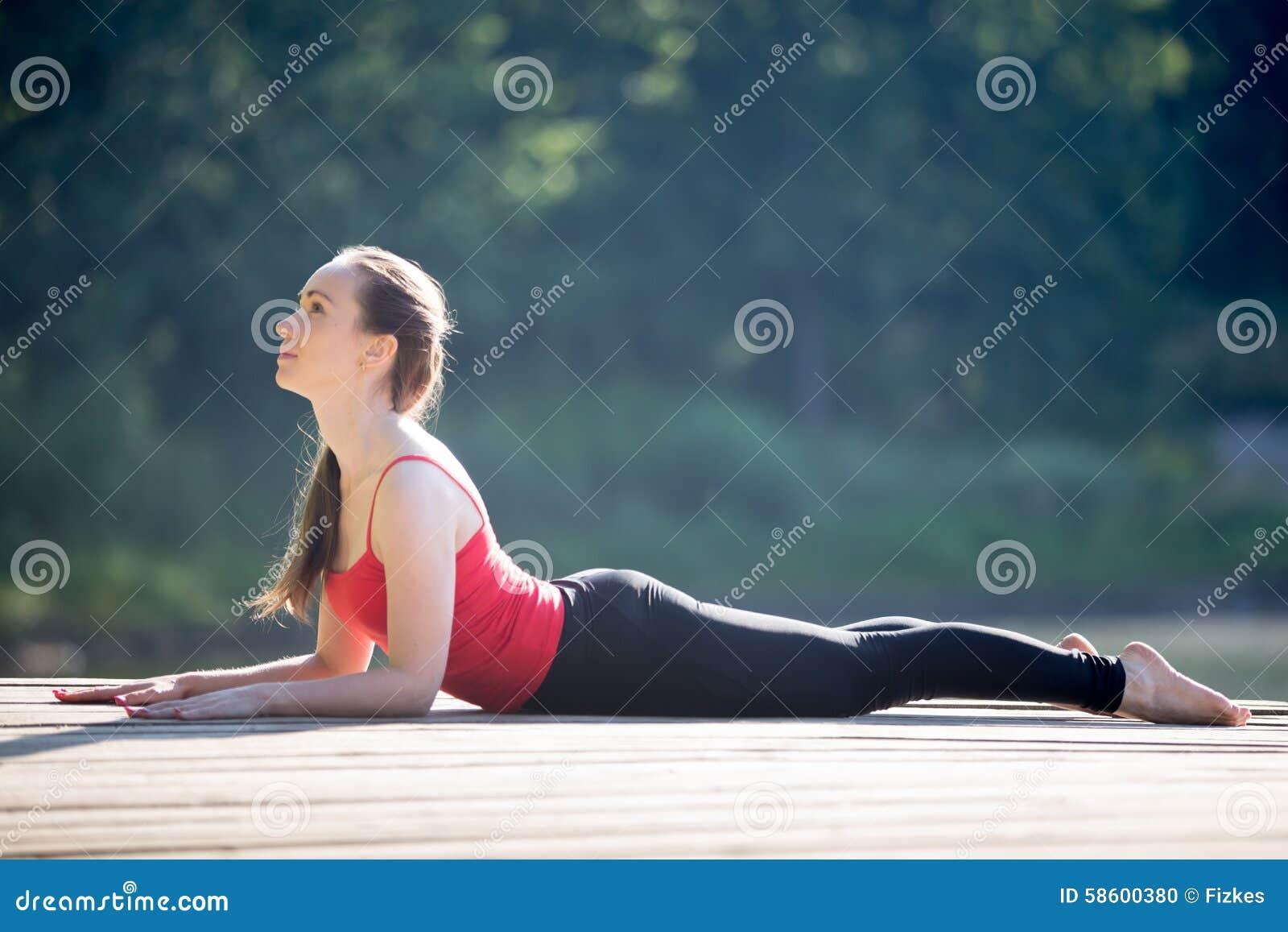 Download Teenage Girl In Sphinx Yoga Pose Stock Photo