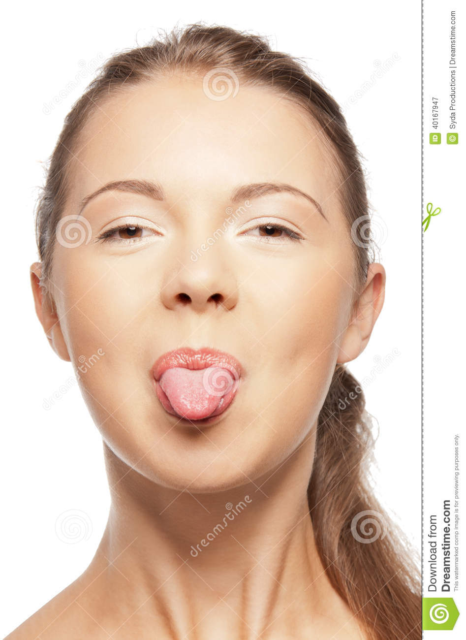 Teenage Girl Sticking Out Her Tongue Stock Photo Image