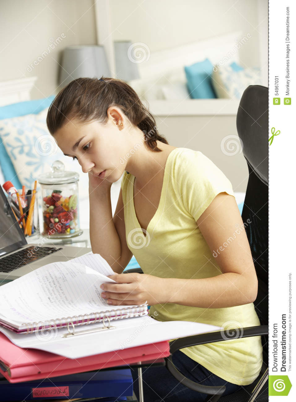 Teenage Girl Studying At Desk In Bedroom Stock Photo Image 54967031