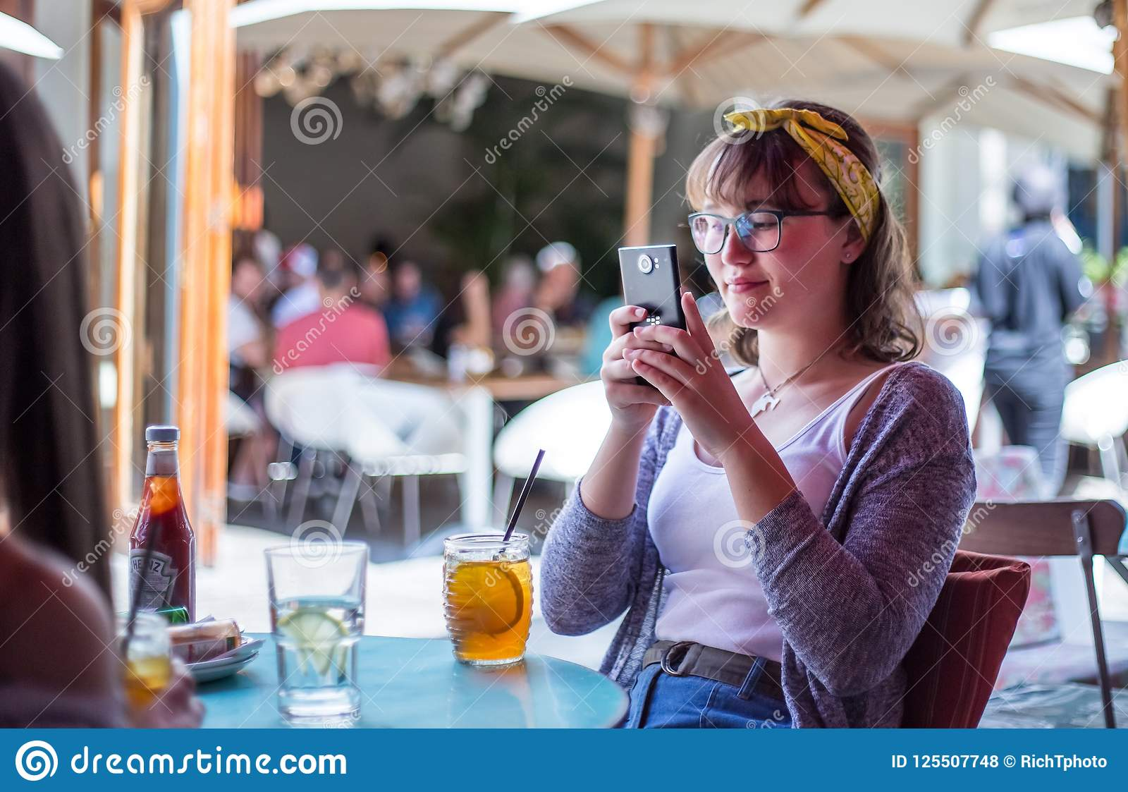 Young Pretty Woman Taking Selfie With Mobile Phone While