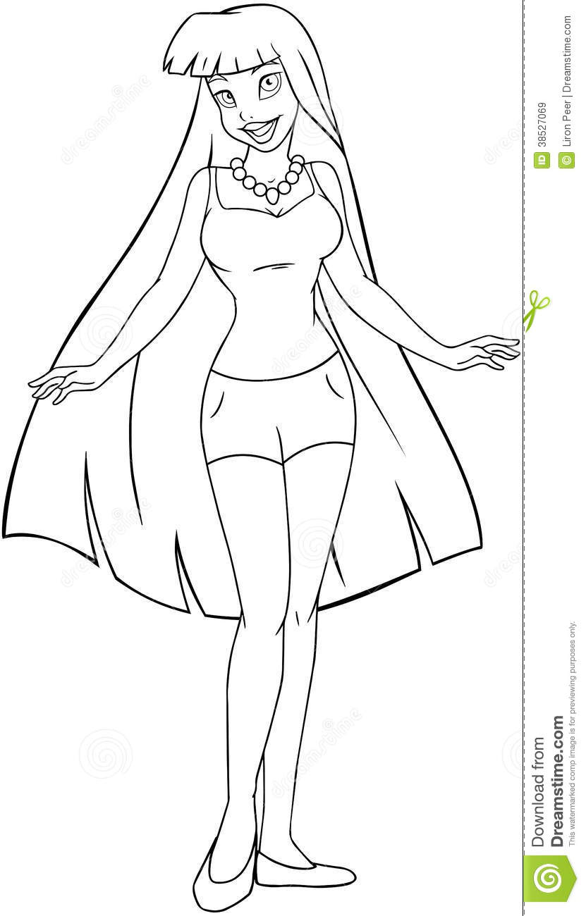 Teenage Girl In Tanktop And Shorts Coloring Page Royalty Free