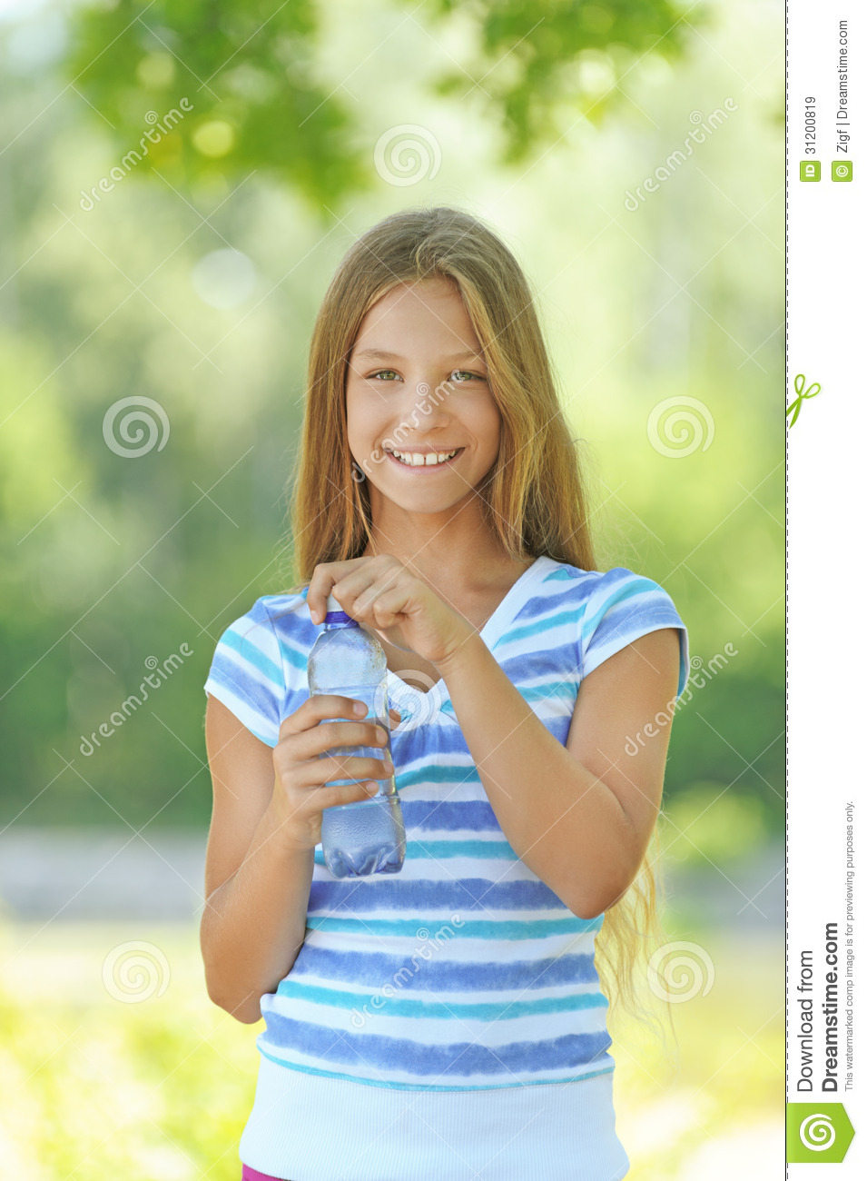 Teenage Girl With Long Blond Hair And Blue Eyes Troutdale: Royalty Free Stock Images: Teenage Girl With Water Bottle