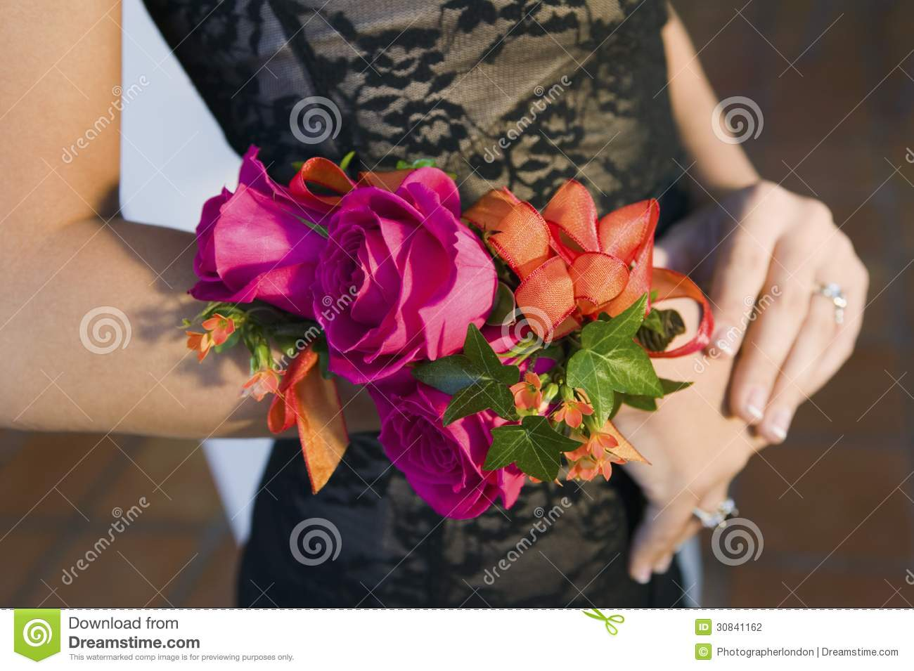 Teenage Girl Wearing Corsage Close Up Of Flowers Stock Photo Image