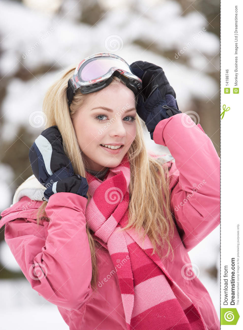69ac6b44fc Teenage Girl Wearing Winter Clothes In Snow Stock Photo - Image of ...