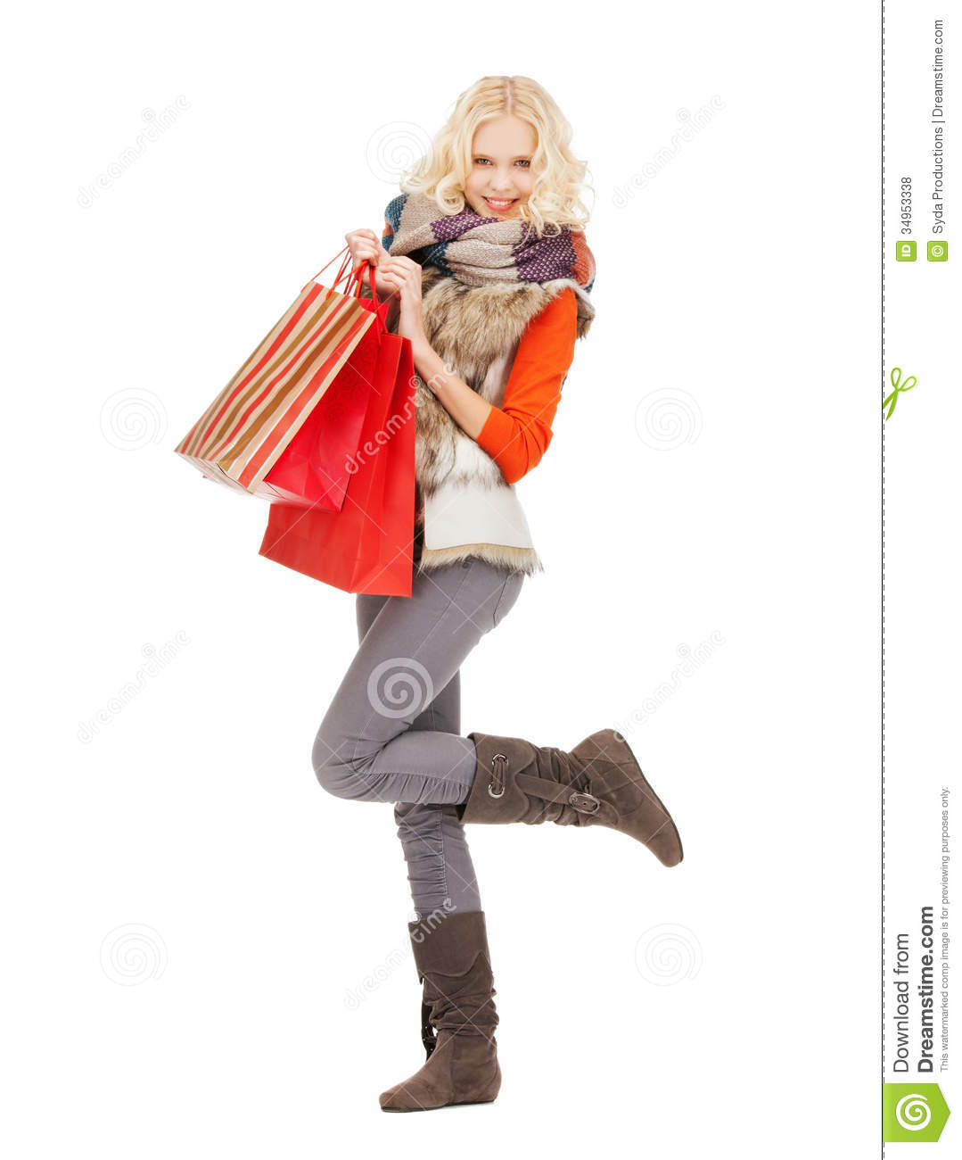 Teenage Girl In Winter Clothes With Shopping Bags Royalty Free ...
