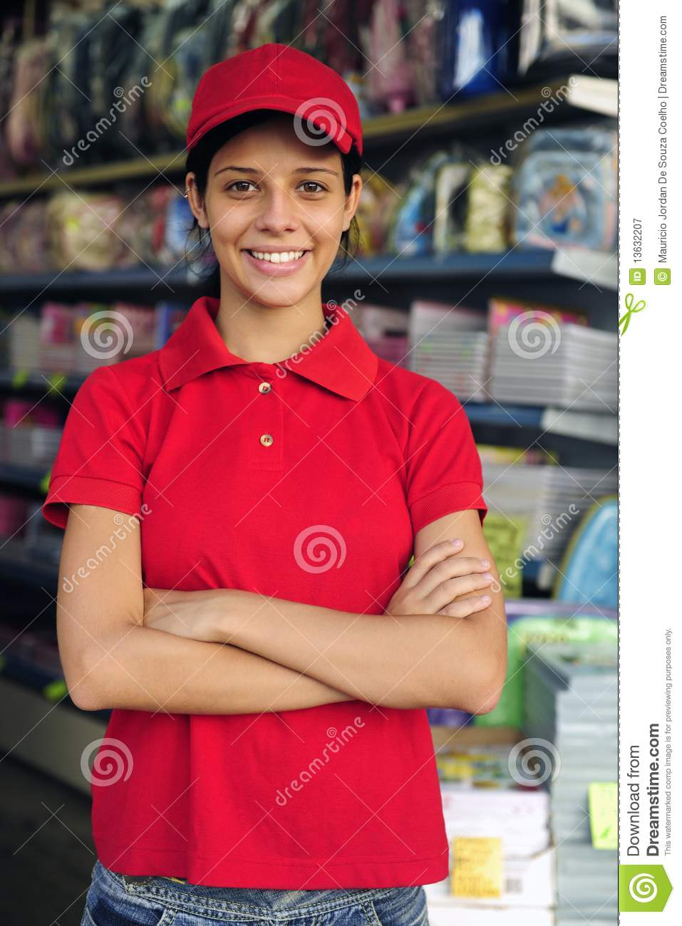 Royalty Free Stock Photo. Teenage Girl Working In A Stationery Shop Royalty Free Stock
