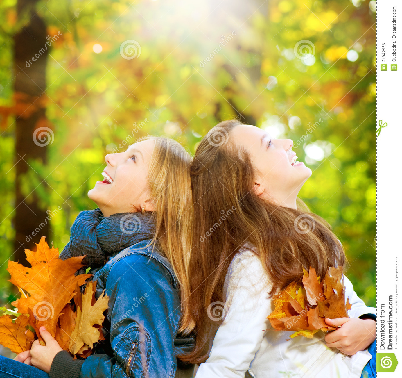 Teenage Girls in Autumn Park