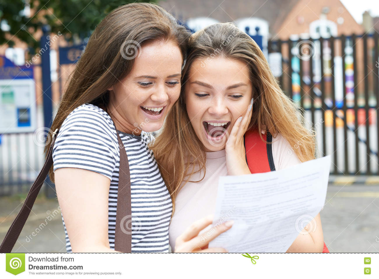 Teenage Girls Celebrating Exam Results