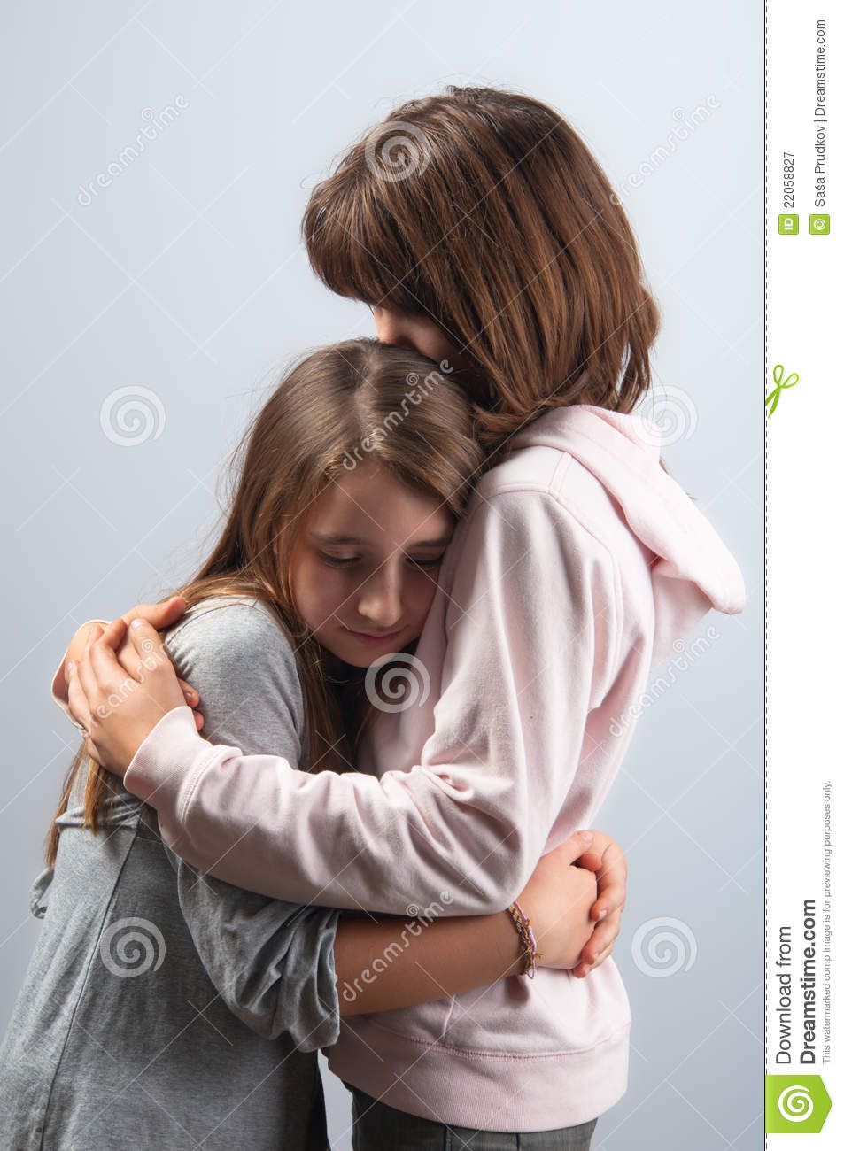 Teenage Girls Hugging Each Other Royalty Free Stock ...