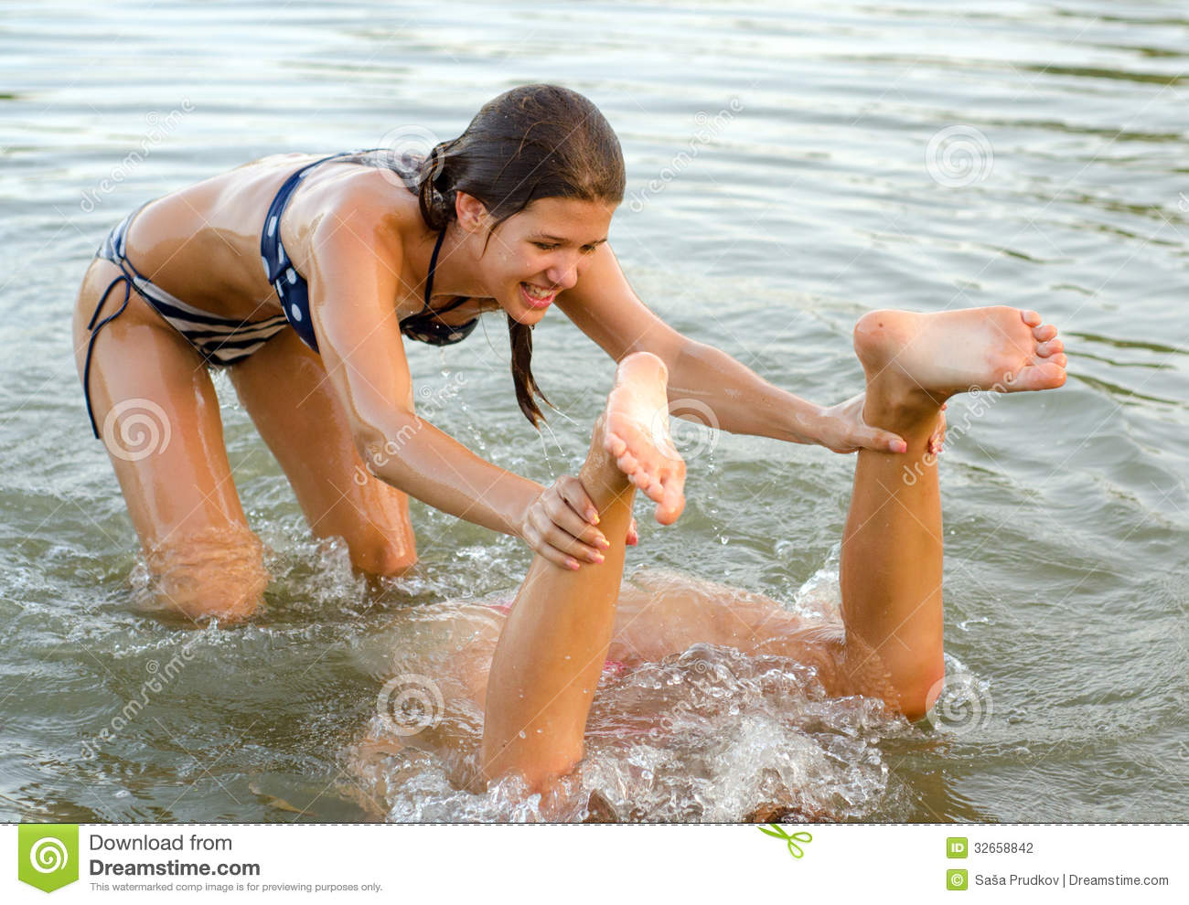 Teenage Girls Playing In The Water Stock Photo Image Of Optimistic Close