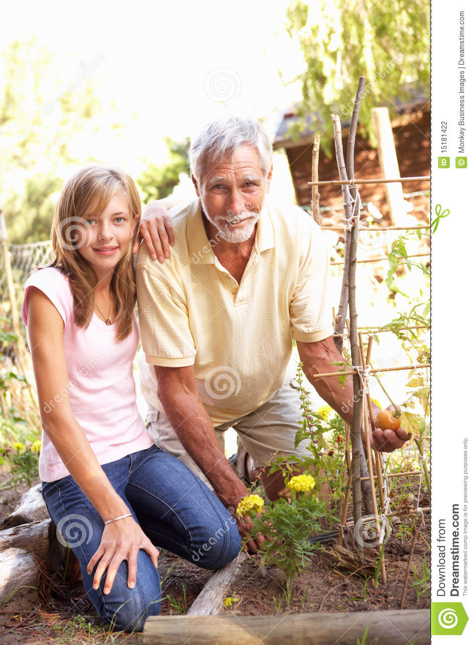 Teenage Granddaughter And Grandfather Relaxing In