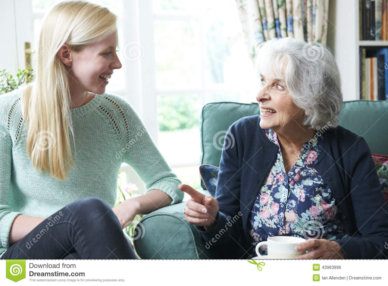 Teenage Granddaughter Visiting Grandmother