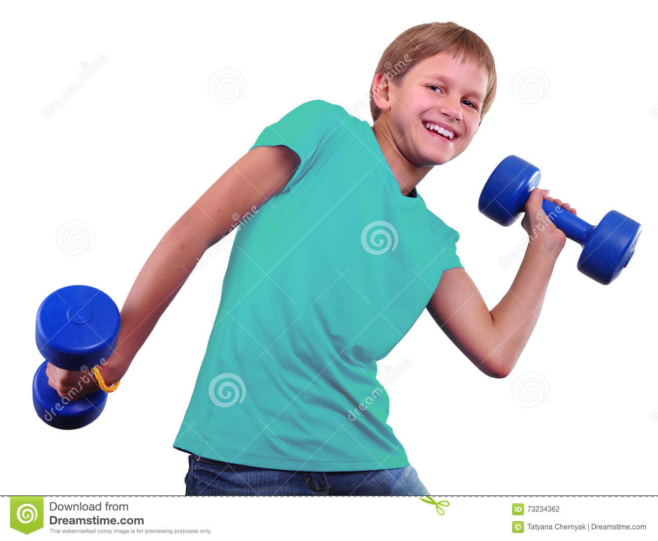 teenage sportive boy is doing exercises sporty childhood teenagerteenage sportive boy is doing exercises sport healthy lifestyle concept sporty childhood teenager exercising and posing with weights