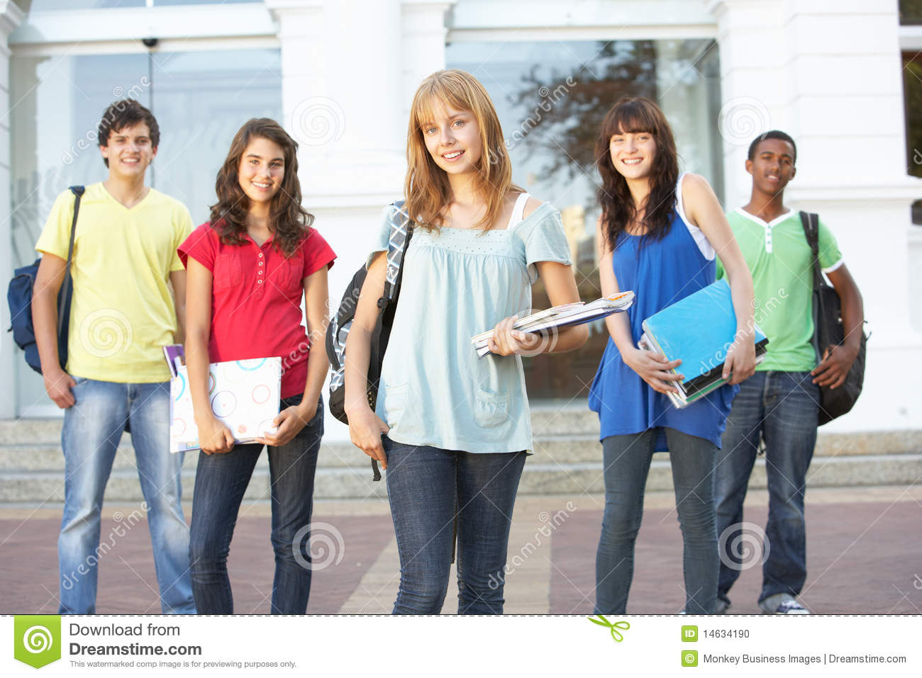 Teenage Students Standing Outside College Building Stock Photo ...