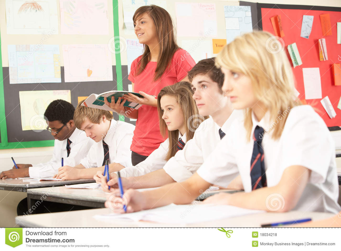 teenage students studying in classroom royalty free stock