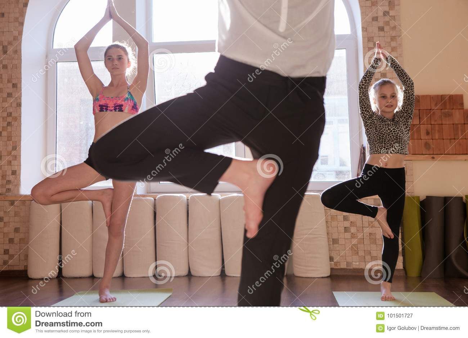 Teenage yoga class. Sport for children