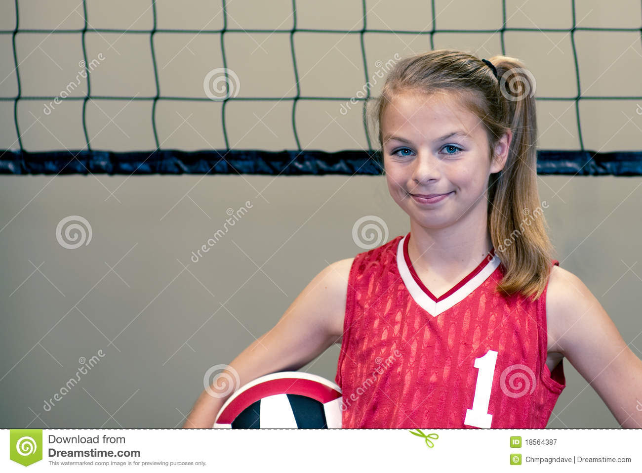 Active Young Women Volleyball Player Sport Stock Vector: Teenaged Girl Volleyball Player Stock Image