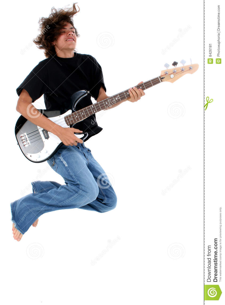 Teenager with bass guitar
