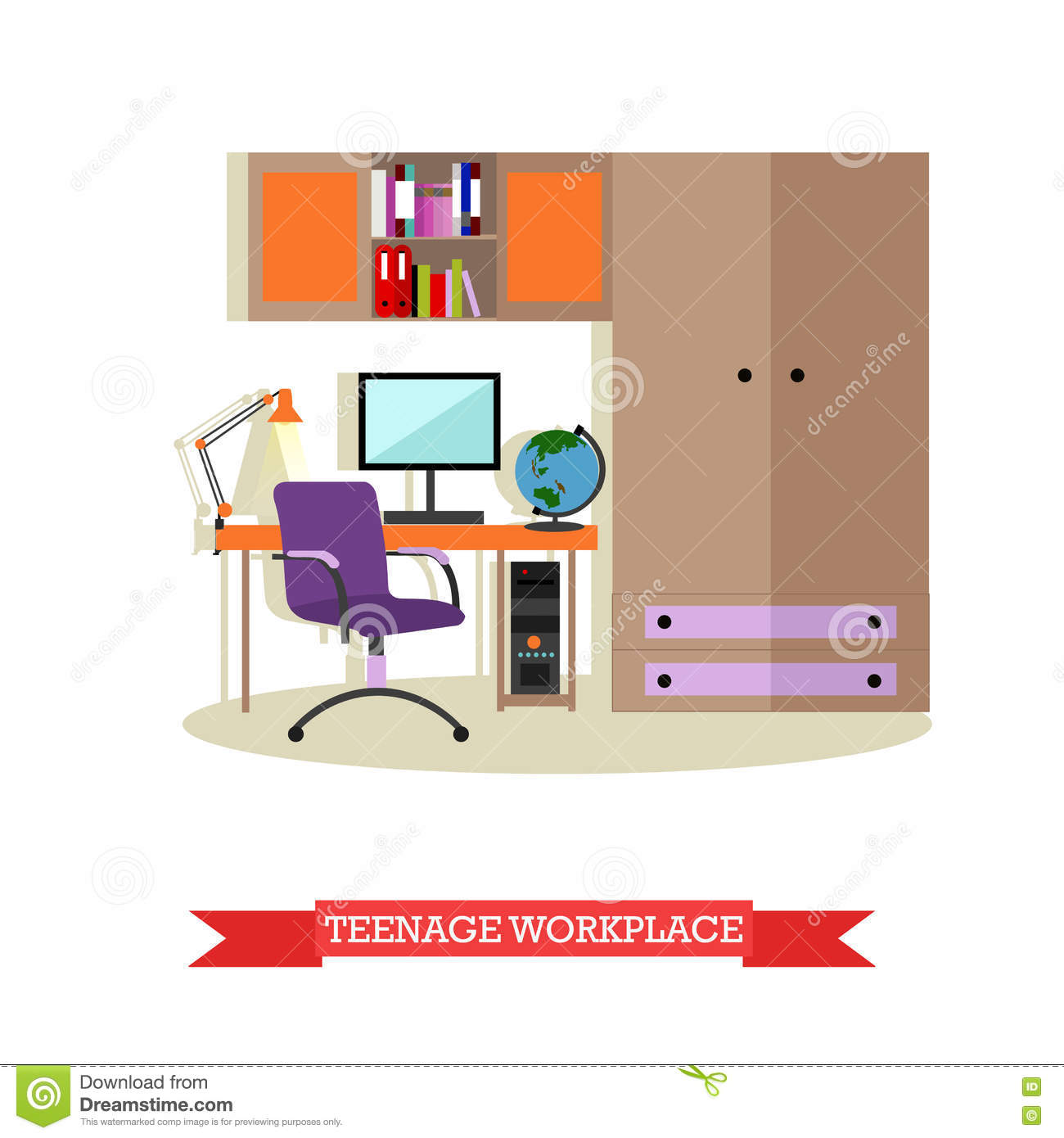 Teenager bedroom interior objects in flat style vector for Room design vector