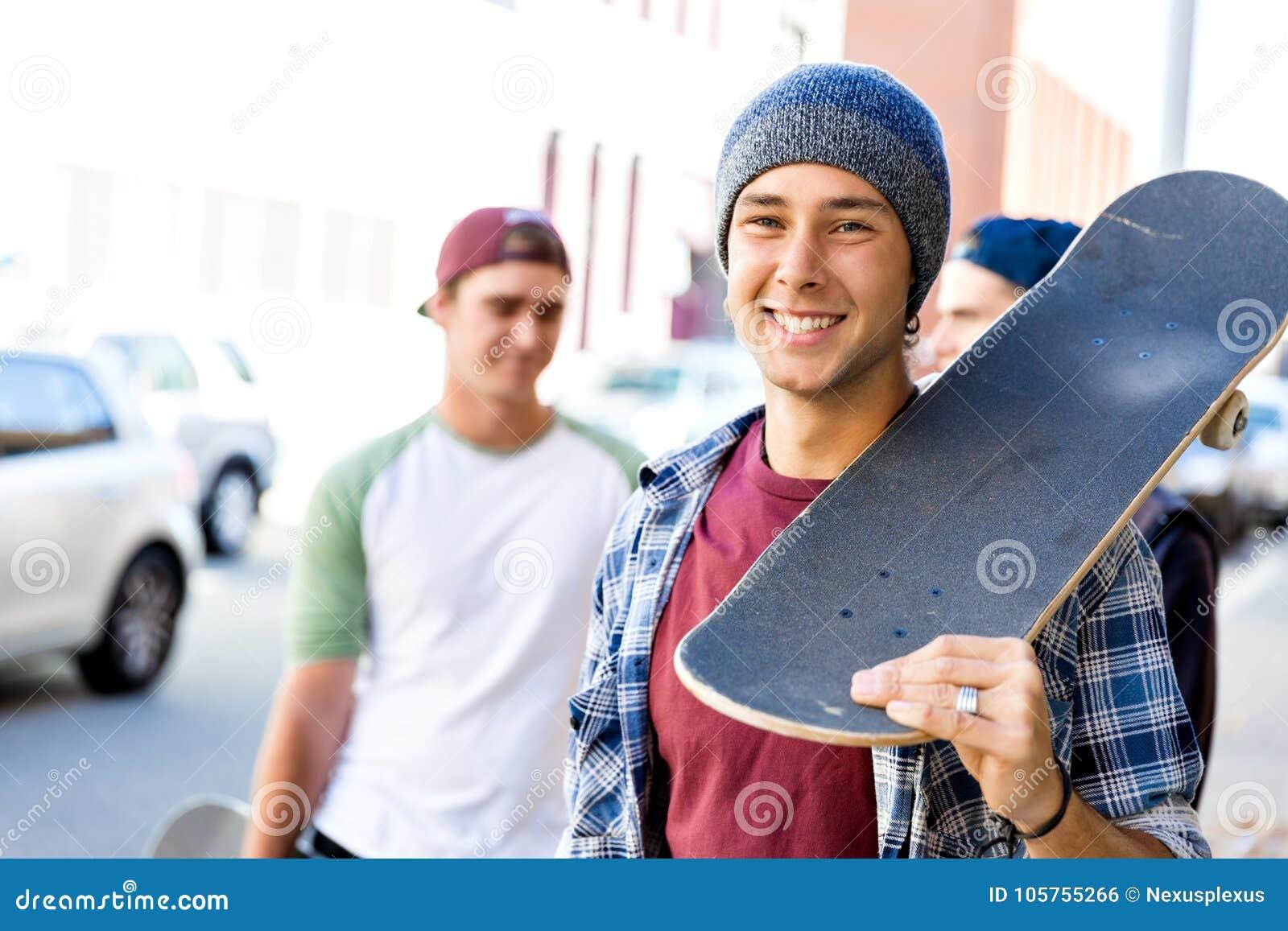Cute teens wlking down the street