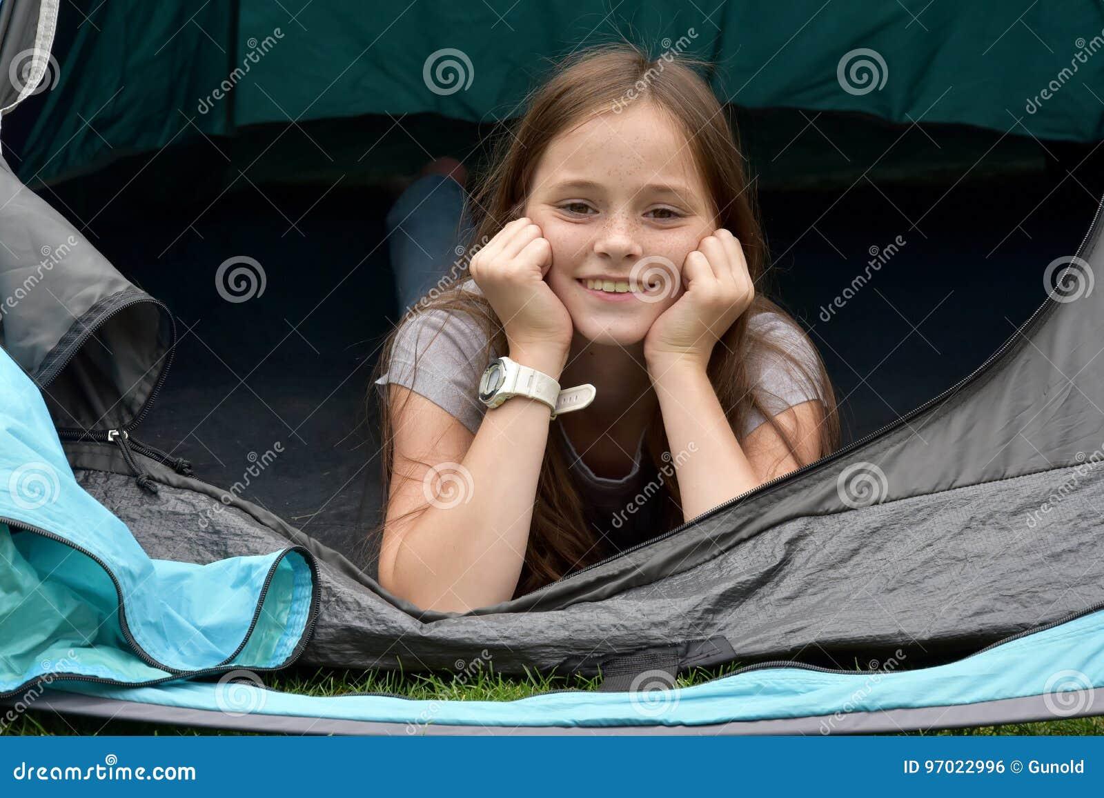Teenager at camping vacations
