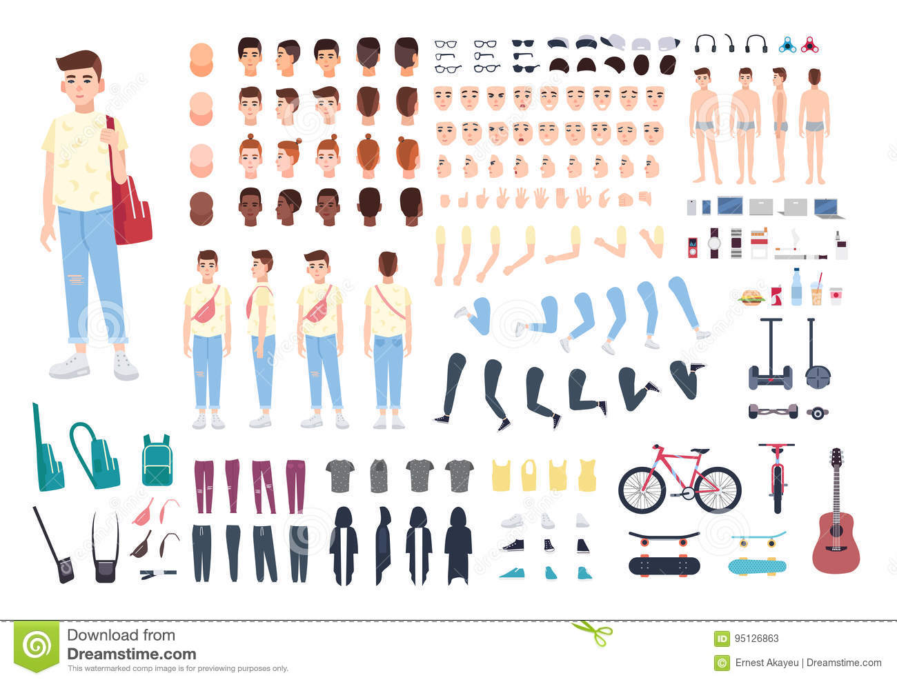 Teenager character constructor. Boy creation set. Different postures, hairstyle, face, legs, hands, clothes, accessories