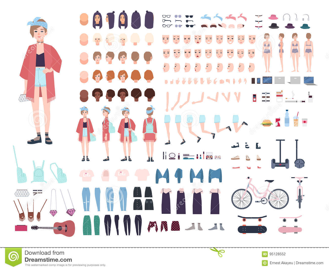Teenager character constructor. Young trendy girl creation set. Different postures, hairstyle, face, legs, hands