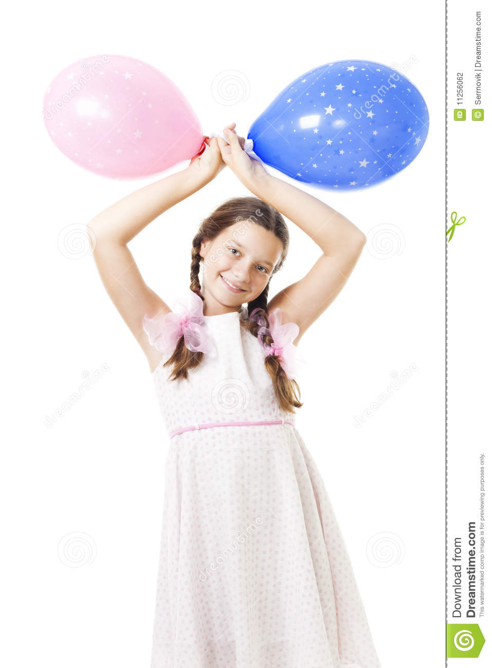 Teenager Girl With Balloons At Her Birthday