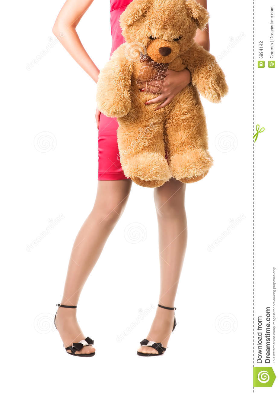 Gril Toy For Teenager : Teenager girl holding toy bear stock photography image