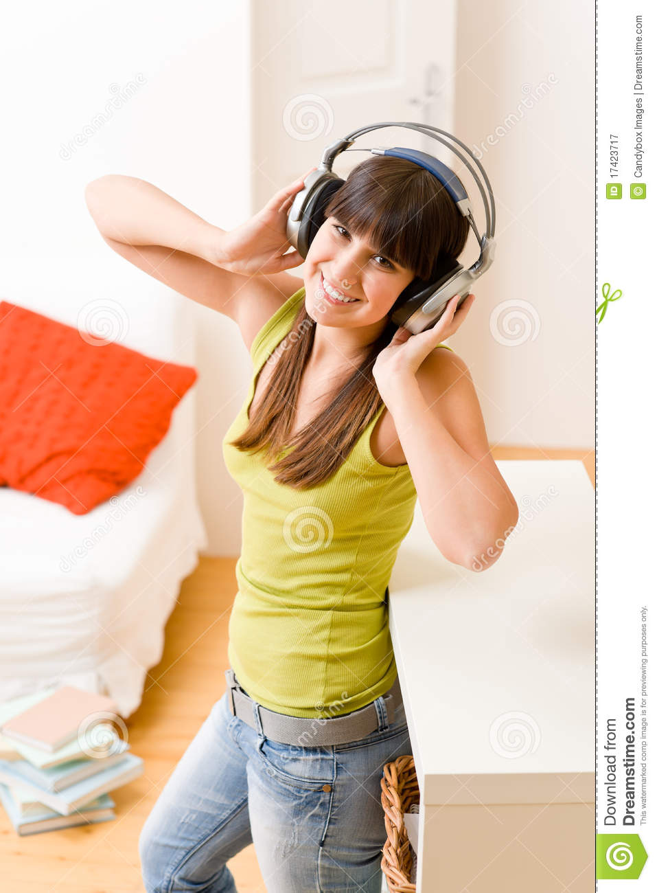 Teenager girl relax home listen to music royalty free for Listen to house music