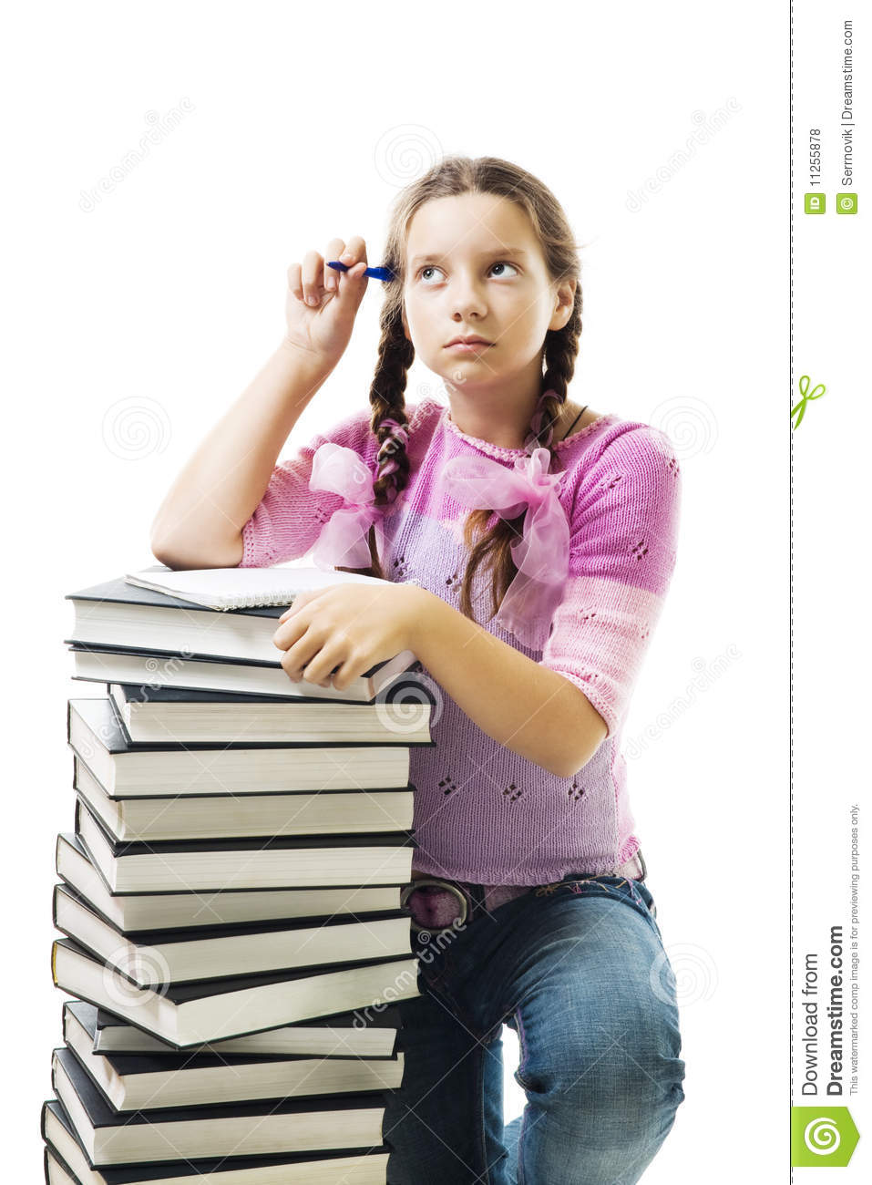 Teenager girl think about homework