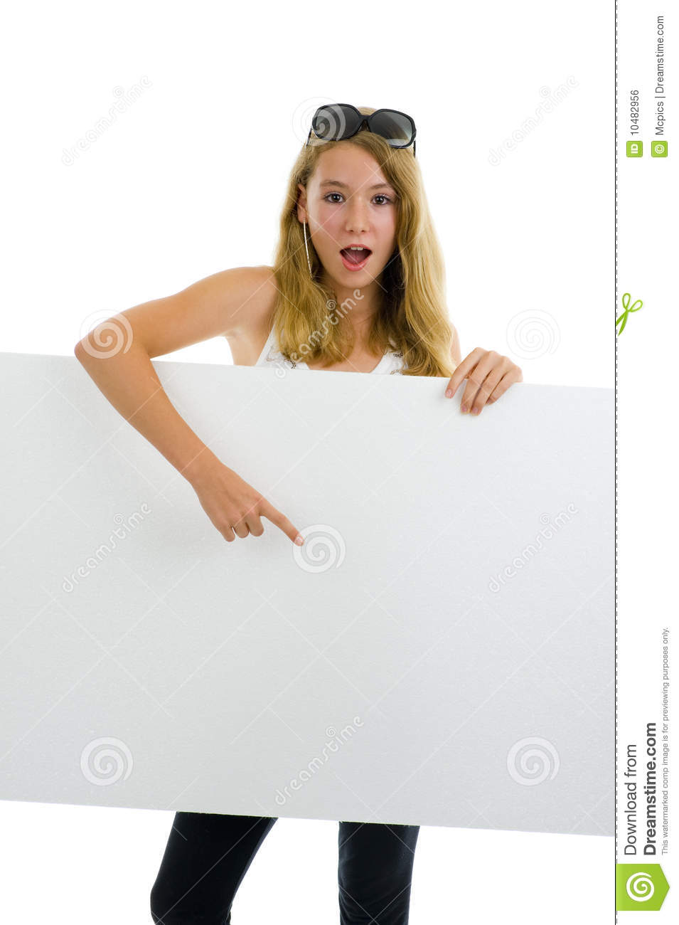 Teenager girl with white board